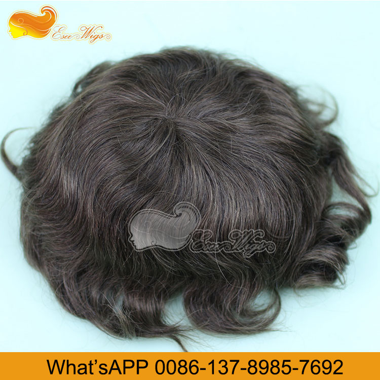 Eseewigs Real Human Hair Toupee for Men 10x8inch Thin Skin Around Vary Color 13cm Hair