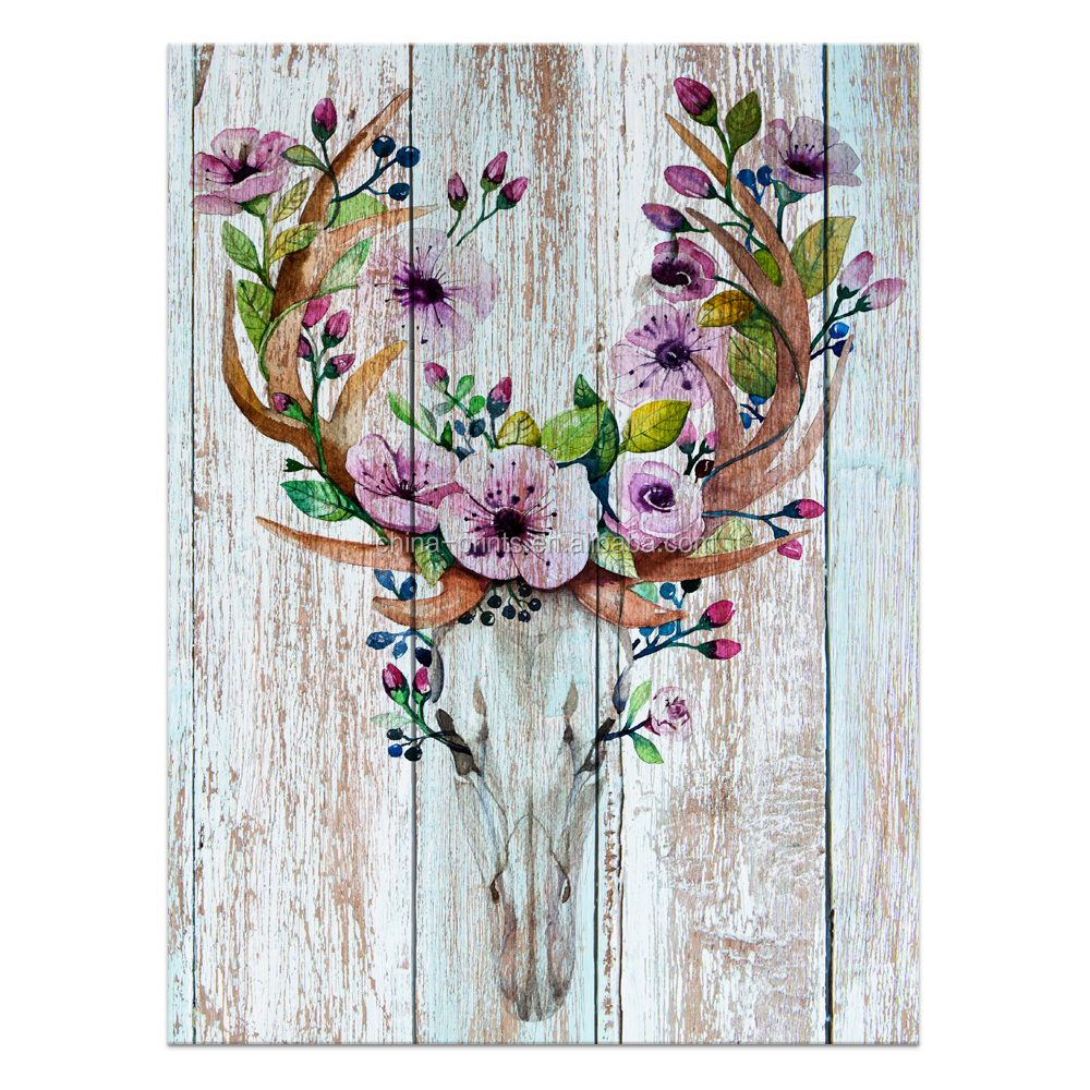 1 Panel HD Printed Abstract Wood Board Painting Canvas Art Decor Flower Deer Painting Wall Picture/VA170804-1