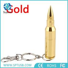 Real capacity 16gb metal gun and bullet shape usb flash drive with keychain