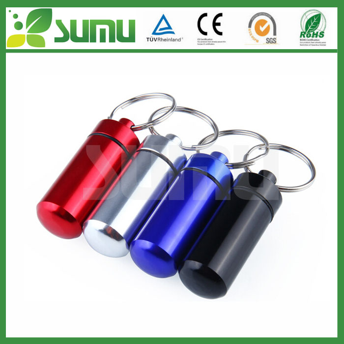 Small colorful custom design pill holder keychain air tight container metal aluminium pill box
