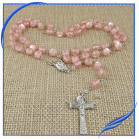 Plastic beads rhinestone chain rosary necklace