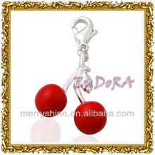 2013 Trendy red enamle double cherry charms in wholesale (T119)