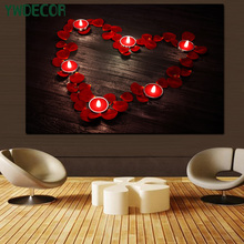 LED Love Heart Canvas Painting Wedding Essential Decoration Wall Art Canvas Picture With LED Lights