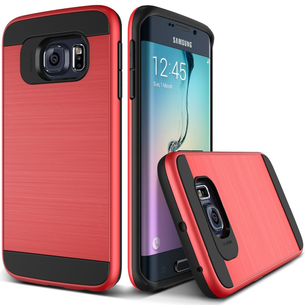 Wholesale hot selling <strong>2</strong> in 1 Brushed Metal Case for Samsung galaxy s6 edge