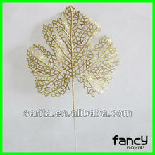 2016 new design high quality artificial single leaf for christmas