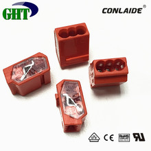 Orange Color 3 Pin Push Wire Junction Connector With 24A 450V For Power Houses