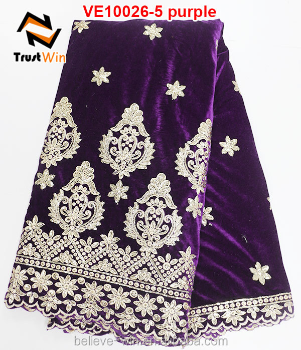 Hot saler good design velvet lace african velvet lace material of VE10026
