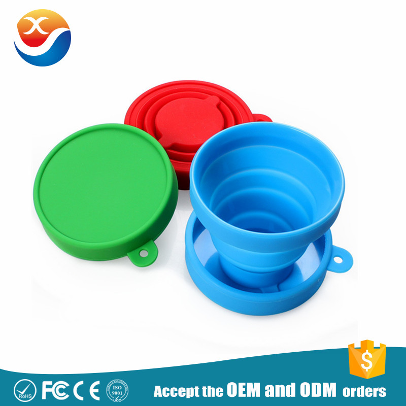 Foldable Outdoor Drinkware Collapsible Cup With Lid Silicone Folding Cup