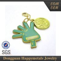 Hand Shaped Sgs Metal Charms Imprint