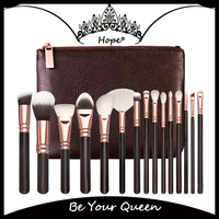 Luxury 15pcs Top Quality Rose Gold Ferrule Makeup Brush