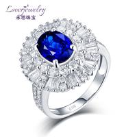 Custom Design 0.98 Ct Diamond 2.5 Ct Blue Sapphire Natural 4.5g 18k Rings Unisex In White Gold For Women Ring