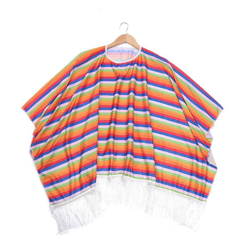 cheap kids rainbow Mexican Cloak cape cosplay costumes