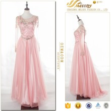 Peach beaded long sleeve floor-length net women evening dress