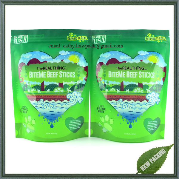 Smell proof custom design stand up bags for pet food with see through window