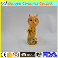Yellow hollow ceramic owl candle holder for promotion