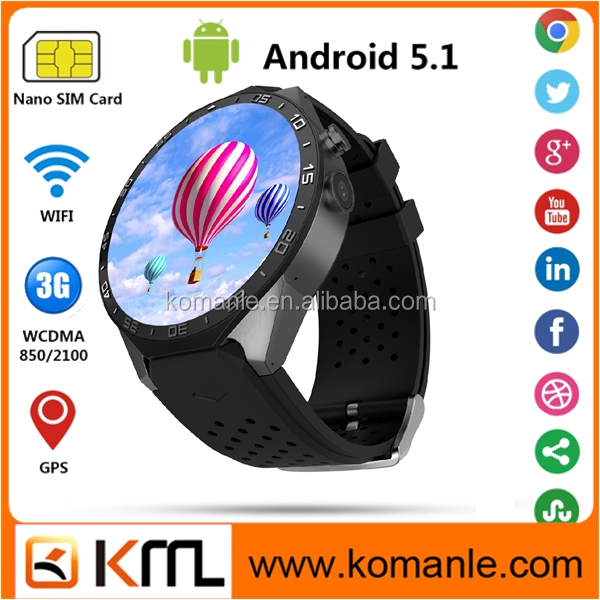 1.39'' Amoled Touch Screen Mtk Quad Core Gps 3G Wifi Kw88 SIM Smart Watch Mobile Phone