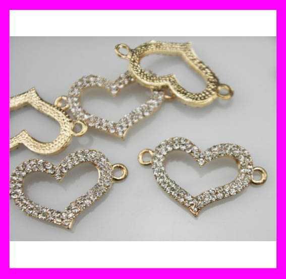 High quality jewelry findings gold crystal heart charm connector H1957