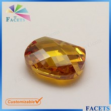 FACET GEMS Irregular Shape Gemstone Double Faceted Half Drilled Cubic Zirconia
