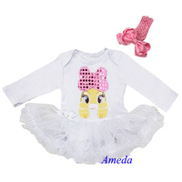 Easter Baby Clothes - White Long Sleeves Romper Tutu with Brown Rabbit Bunny and Headband, Size Newborn 18 Months