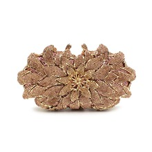 Best Price Of Colorful Crystal Beaded Women Evening Bags Metal Frame Rhinestone Clutch Purse In Flower Shape