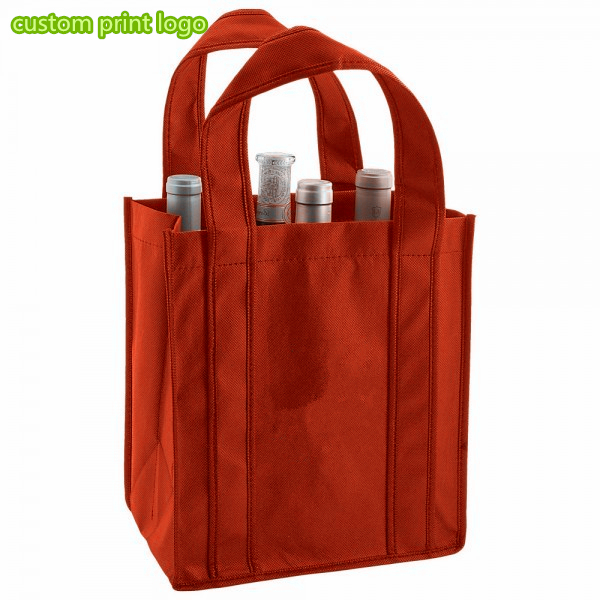 Promotional Cheap Canvas Sturdy Folding Wine Bags For 4 Bottle