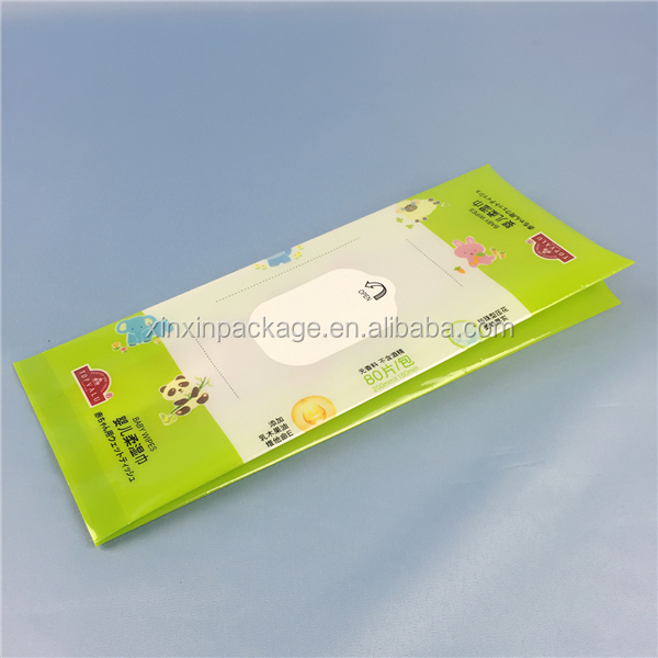 mid-heat seal CMYK printing mother care wet wipes biodegradable plastic bag for baby