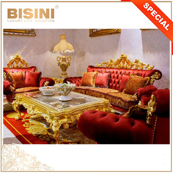 Luxury Antique European Style 24K Gold Button Tufted Red Velvet Sofa Set/ Flower Design Wood Carved Living Room Furniture