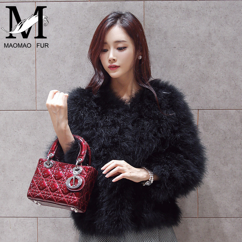 2015 Winter Fashioanable Genuine Turkey Fur Wholesale Ostrich Feather Jacket