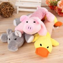 New Dog Toys Pet Puppy Chew Squeaker Squeaky Plush Sound Duck Pig Elephant Toys 3 Designs Rubber Round Ball with Small Bell Toy