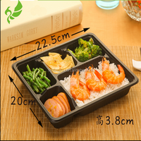 Plastic food frozen and microwave meat container/box with 5 compartments