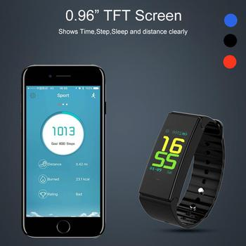 "2018 hot sales calorie tracker sleep monitor sport BT band color 0.96"" color screen smart watch with APP develop"