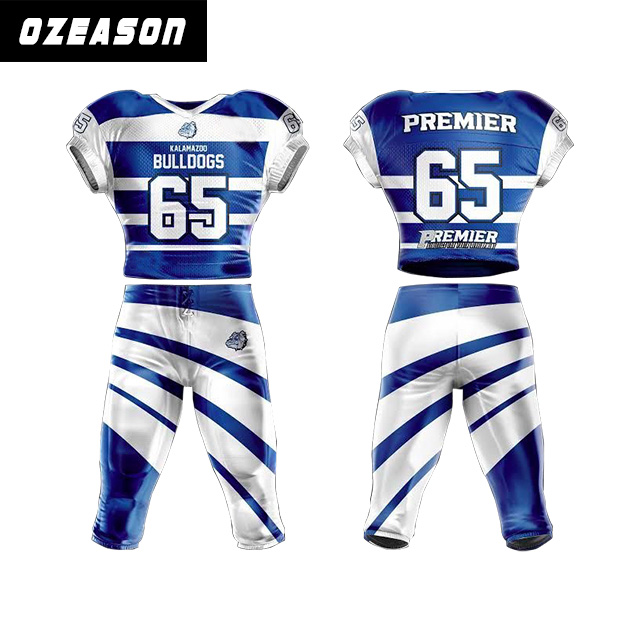 Sublimation Custom made american football uniforms tackle twill in spandex fabric