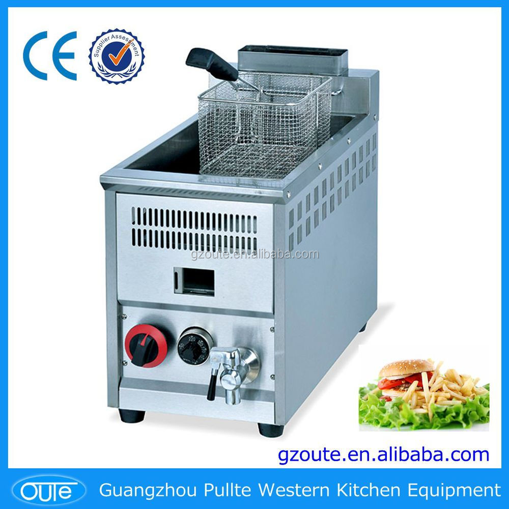 Desktop Stainless Steel Commercial 8L Single Basket Gas Deep Fryer