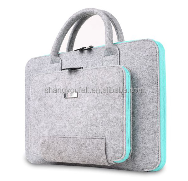 Felt laptop bag with zipper pocket