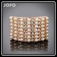 European Fashion Multi Layer Square Elegant 18K Gold Plate Austrian Crystal Fake Pearl Fashion Ring For Women
