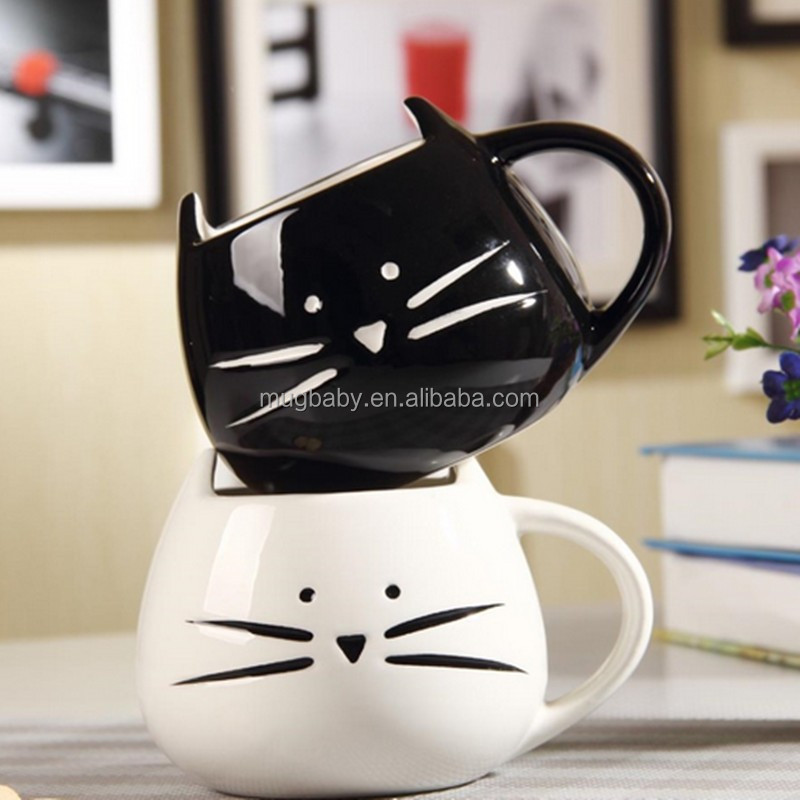 Creative gift Cartoon black and white ceramic cat mug