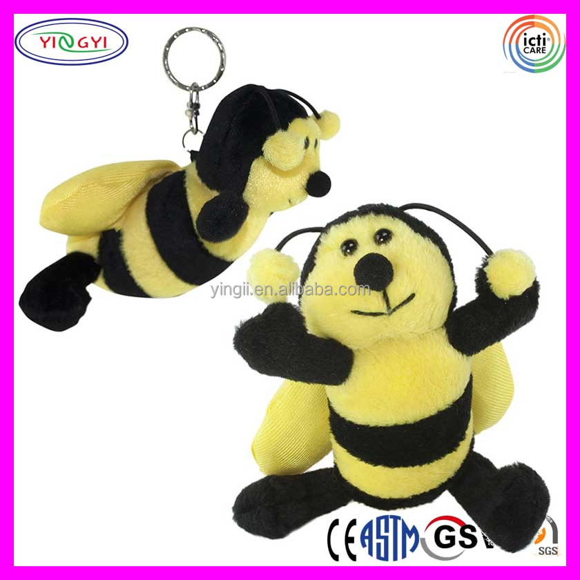 C234 Bumble Bee Plush Keychain Soft Small Bee Gift Lovable Adorable Bee Toy Soft Keychains