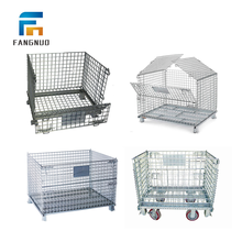 1500kg loading wire mesh container pallet storage cage with wheels