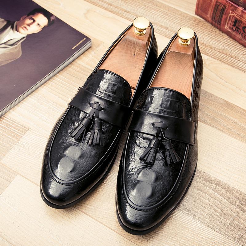 men winter italian fashion snake skin brogue leather oxford tassel slip on pointed toe shoes designer male formal cool footwear  (39)