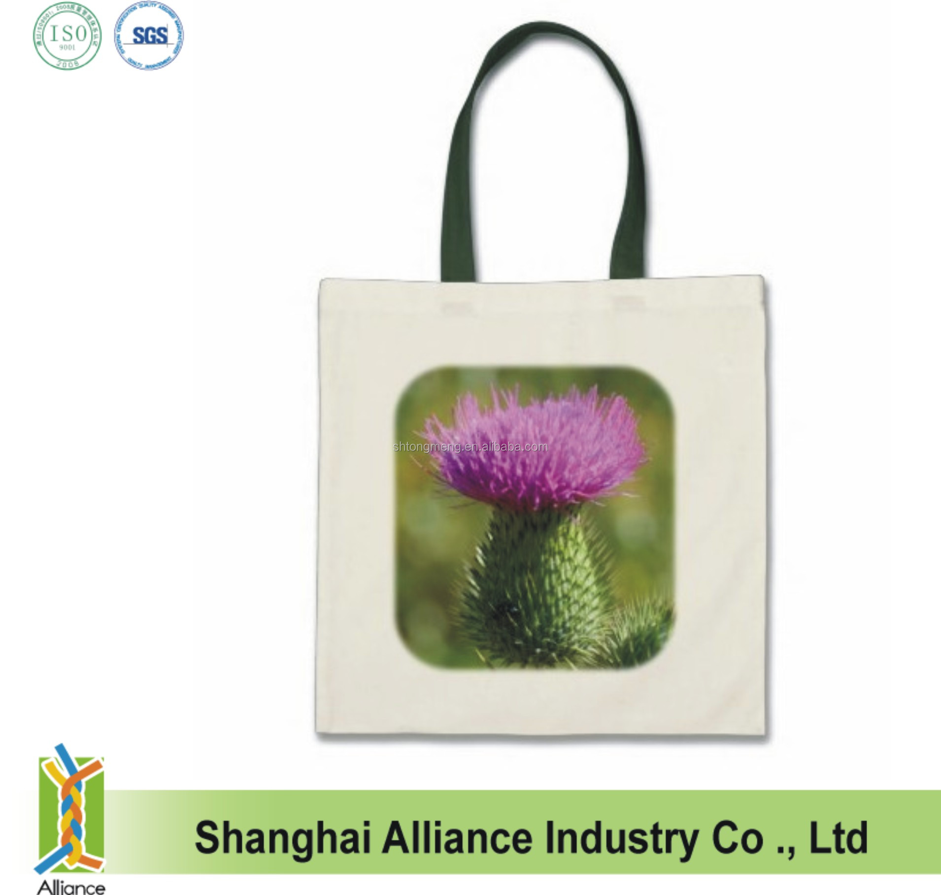 Promotional sublimation printing natural cotton shopping tote bag