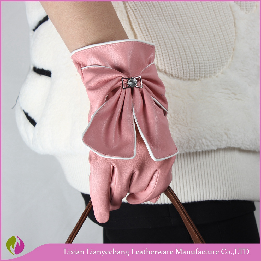 Women embroided touchscreen gloves girls wearing cheap faux pink leather dress gloves with bow tie