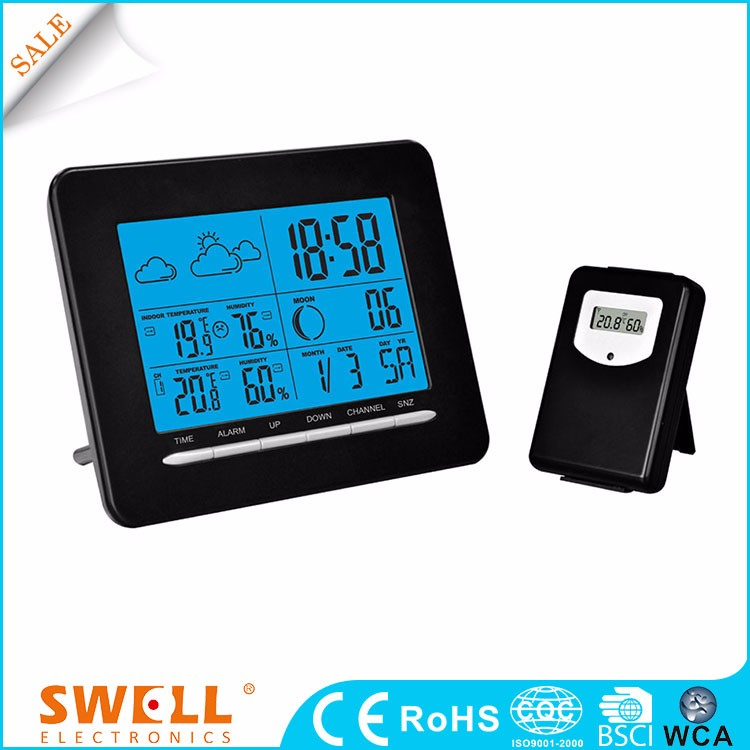 first good daylight alarm clock , RF 433MHZ Wireless weather station with backlight