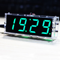 Stylish Digital Clock DIY Kit Compact 4-digit DIY LED Clock Accessories Light Control Temperature Date Time Display with Case