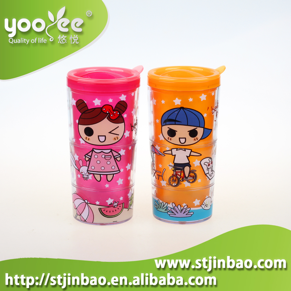 Promotional Gift Colorful Double Wall Plastic Cup with Lid for Kids