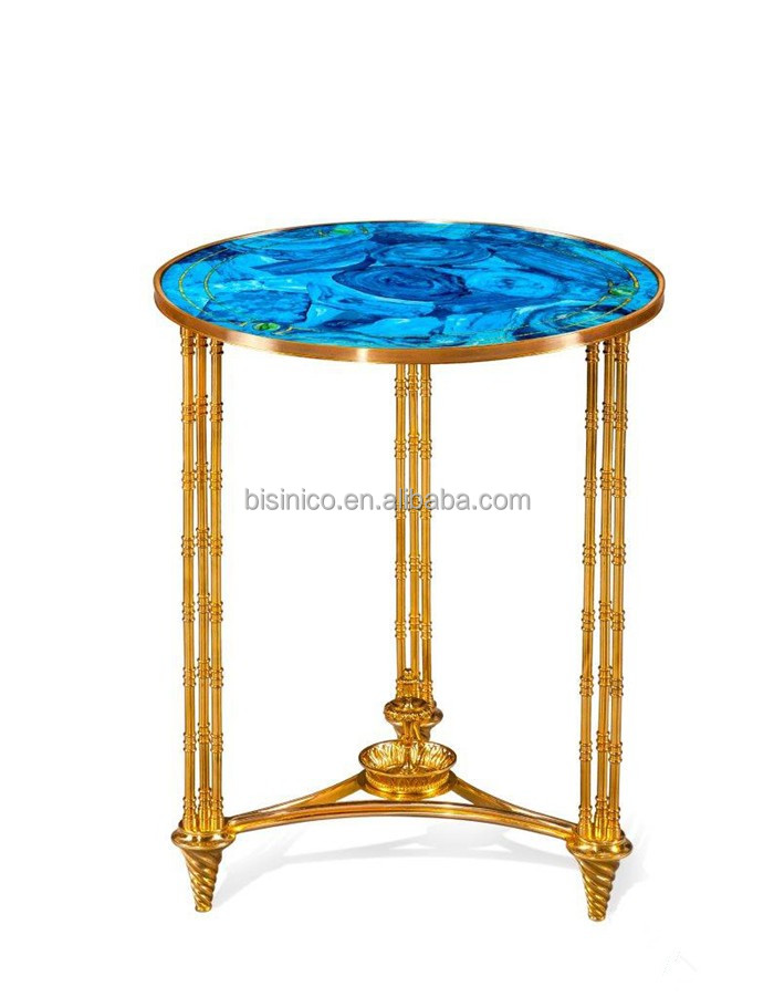 Gilded Bronze Tea Table with Ocean Wave Patterned Tops, Unique Design Glass Enamel Brass Round Shaped Side Table