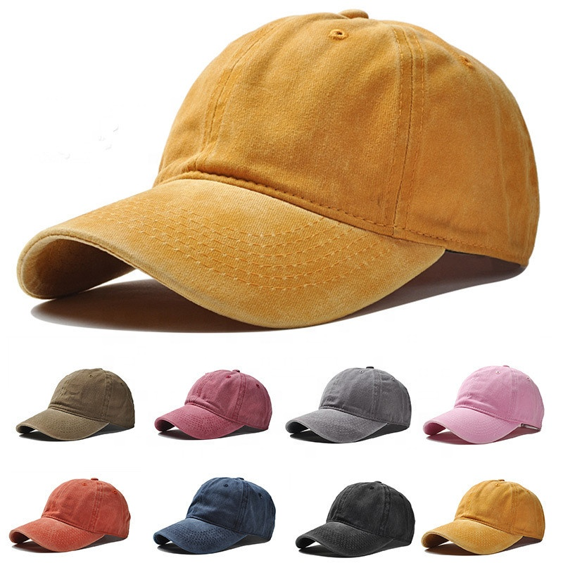 12 Colour Blank Washed Cotton Hat 6 Panel Dad Hat Baseball <strong>Cap</strong> for Women Men