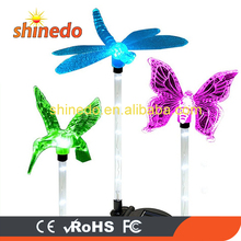 3 Pack Butterfly Dragonfly Hummingbird Animal Plastic Outdoor Solar Decor Lawn Light for Garden