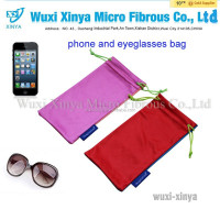 china mainland single drawstring pull microfiber bag,logo printed eyeglasses fabric