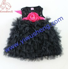 2014 new model children girl wedding dress children party flower girl dresses,girls black tutu and sequin clothes with flower