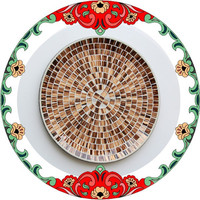 30cm Handmade Shell Piece Ocean Style Blue Color Home Decration Mosaic Tempered Glass Piece Wall Plate